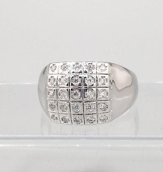 Silver CZ Iced Squares Dome Ring