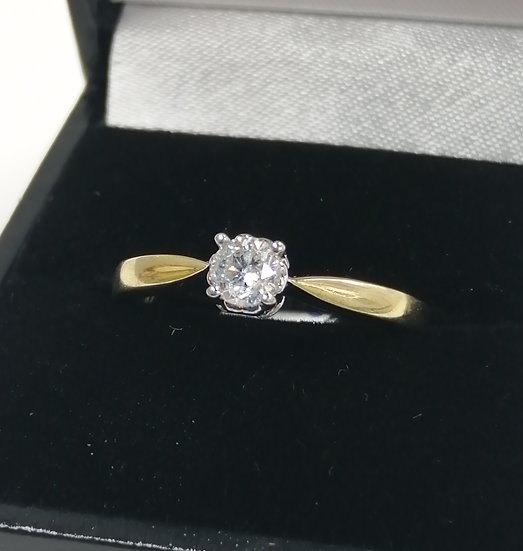 18ct Gold 0.33ct Diamond Solitaire Ring