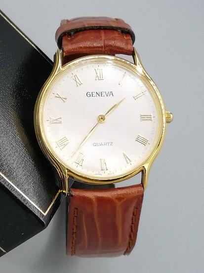 Geneva Quartz Leather Strap Watch