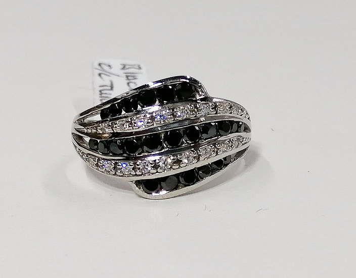 925 Silver Sapphire & White CZ Wave Ring