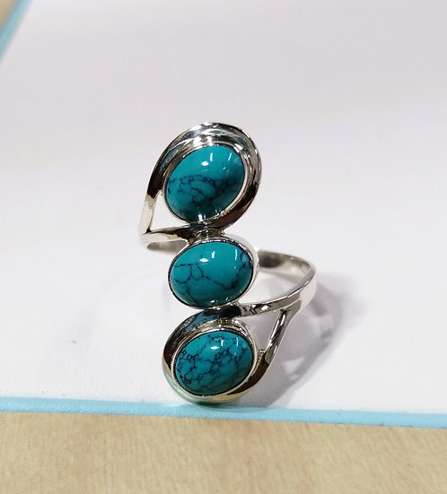 925 Silver Triple Oval Turquoise Ring