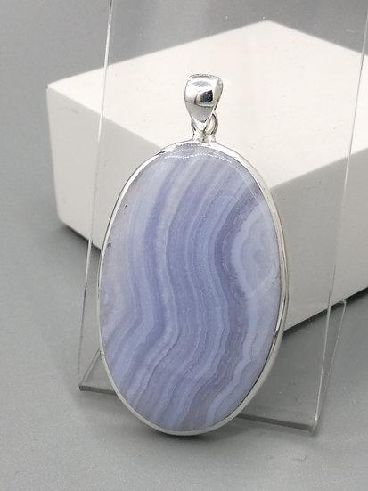 925 Silver Blue Lace Oval Pendant