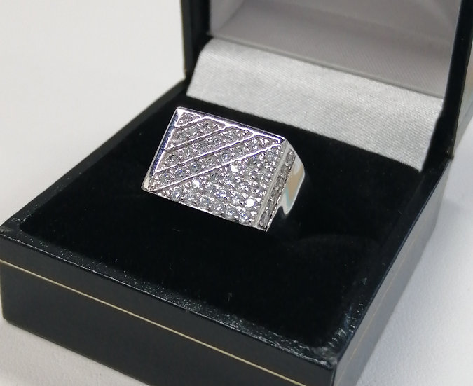 925 Silver Cubic Zirconia Lined Rectangle Ring