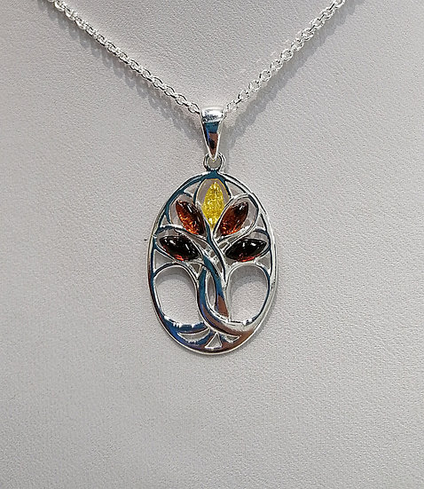 925 Silver Mixed Amber Tree of Life Tree Oval Pendant