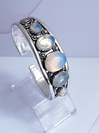 Silver Opalite Gemstone Dome Bangle