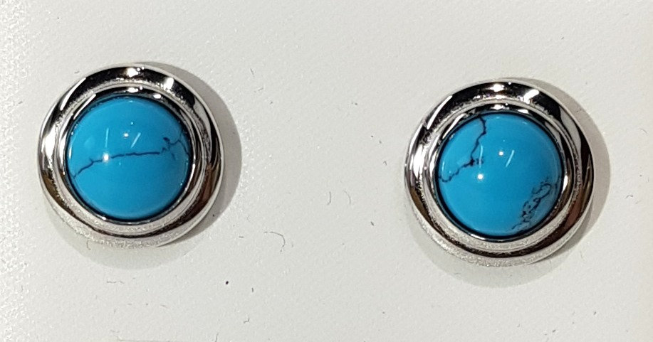 925 Sterling Silver Turquoise Button Earrings