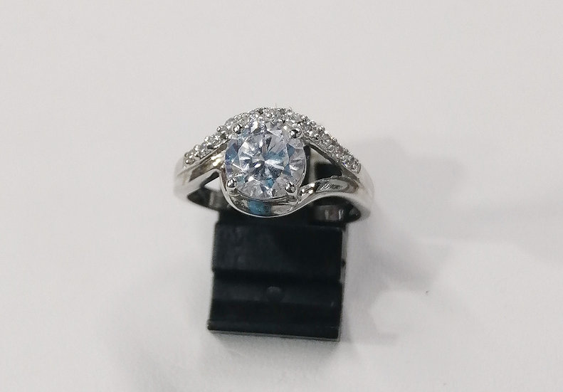 925 Silver CZ Wave Solitaire Ring