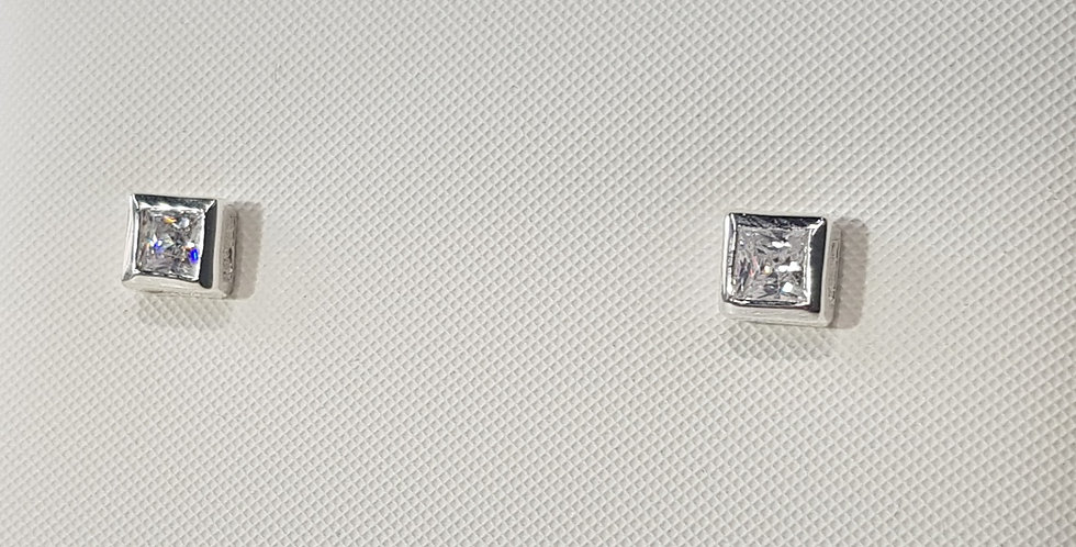 925 Sterling Silver Square CZ Earrings