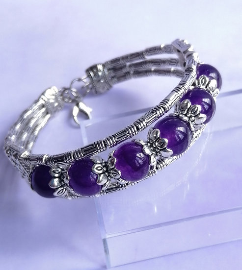 Amethyst Bead Tibetan Silver Bracelet