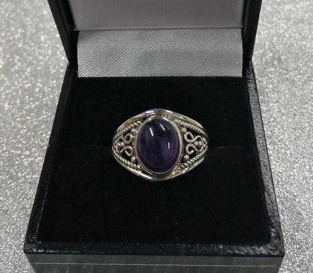 925 Silver Amethyst Dome Ring