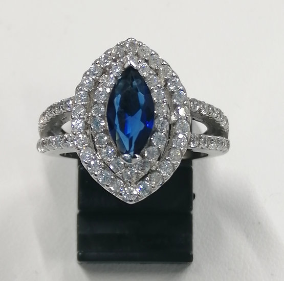 925 Silver Marquise Blue & White CZ Ring