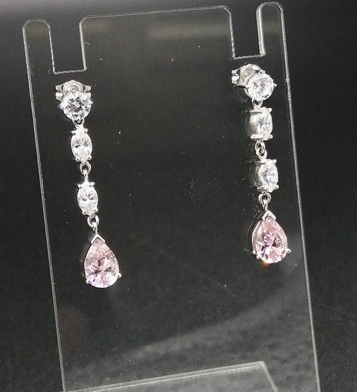 9ct White Gold CZ & Pink Sapphire Droplet Earrings