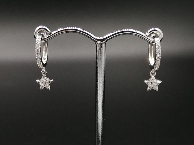 925 Silver CZ Star Huggie Earrings