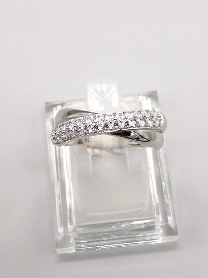 925 Silver CZ Crossover Band Ring