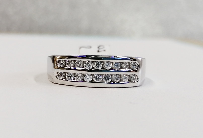 925 Silver CZ 2 Row Channel Set Ring