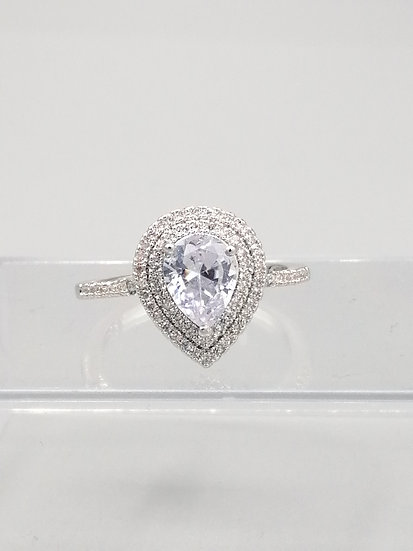 Silver White CZ Teardrop Cluster Ring