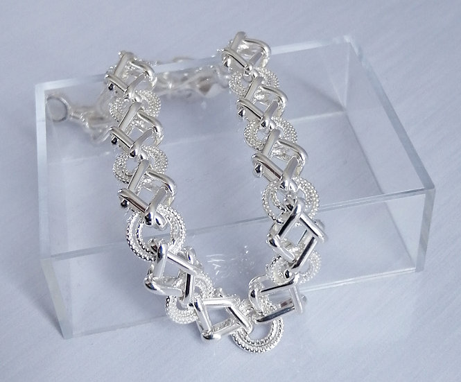 925 Silver Patterned Circles & Diamonds Bracelet