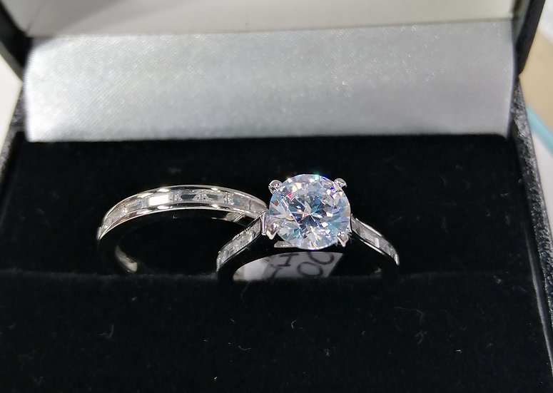 925 Silver White CZ ET & Solitaire Ring