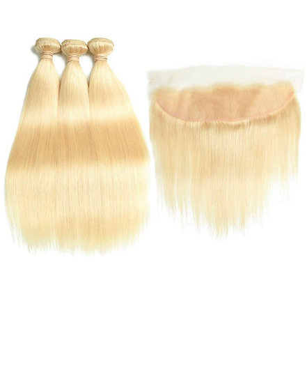 613 Blonde Human Hair Bundles With Frontal