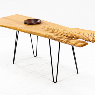 White Ash Slab Style Coffee Table with Hairpin Legs