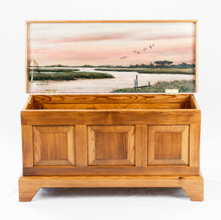 Heart Pine Raised Panel Blanket Chest - Featuring art by Willie Crockett.