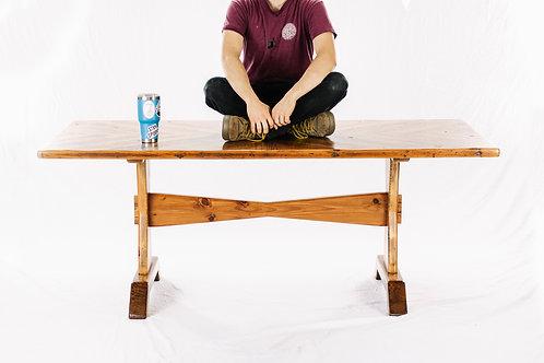 Chevron Pattern Trestle Base Dining Table or Desk - Reclaimed Heart Pine