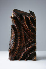 """""""VENENO"""" - By Levi Smith Poison,  wood sculpture, hand-carved from reclaimed African Teak17.50'' H x 9.50'' W x 5"""" D"""