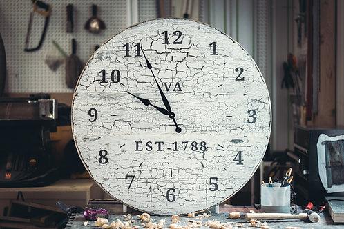 "American Rustic Oversized Wall Clock 32"" inches. ""VA EST-1788"""
