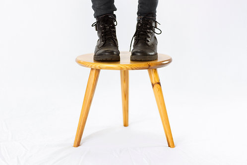 Mortised Splayed Tri-Leg Stool or Plant Stand - Reclaimed Heart Pine