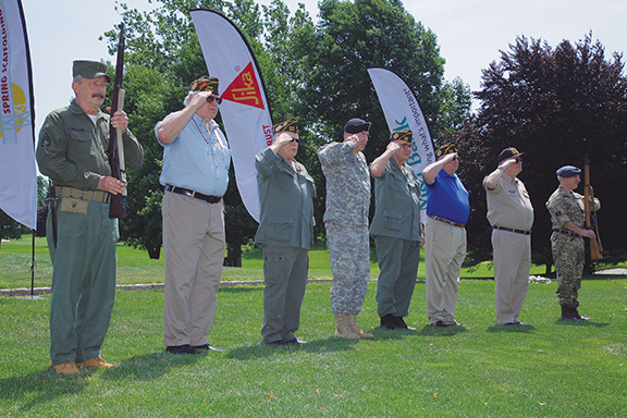 Members of the Port Washington VFW Post 1819 presenting the Flag, at Skyline Restoration's Ninth Annual Charitable Golf Classic, at the Village Club of Sands Point.