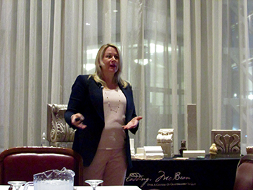 A terra-cotta briefing from Michelle Perez of Gladding, McBean during the NYC Special Riggers Association's event on legislative, regulatory and political update