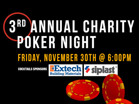 Lock up your seat today! 3rd Annual Charity Poker Night - Tournament will sell out!