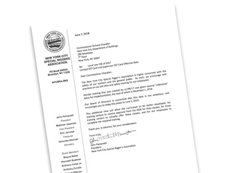 Our letter to DOB requesting the extension of time with implementation of the two pending LL196