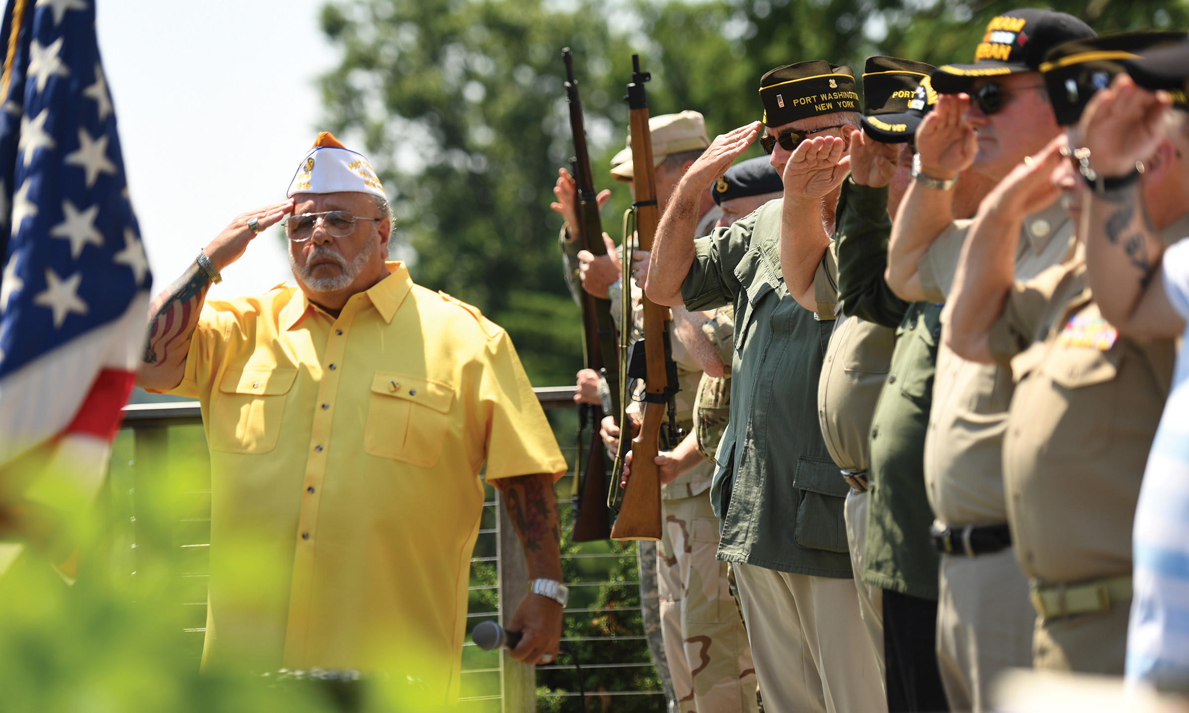 VFW Post 1819, Port Washington, performs opening ceremony and salute to kick off Skyline's 10th Annual Charitable Golf Classic.