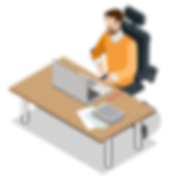Bearded man in bright orange longsleve shirt working on computer at desk with paperwork in black chair graphic clipart - The Best Marketing Agency