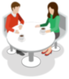 Red man and green lady drnking coffee at a white rond table graphic clipart - The Best Marketing Agency