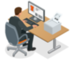Man working on desktop comptuer setup graphic clipart with printer and t shirt - The Best Marketing Agency