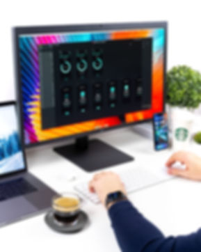 black Apple watch LG Comptuer desktop setup with iphone xs max drinking coffee morning