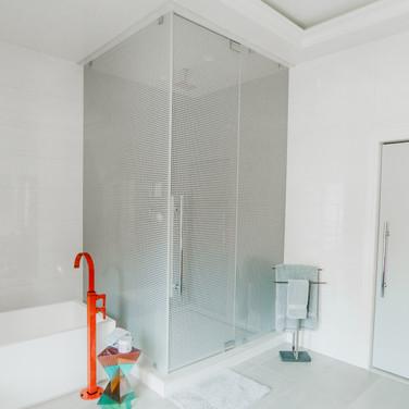 """1/2"""" frameless glass shower"""