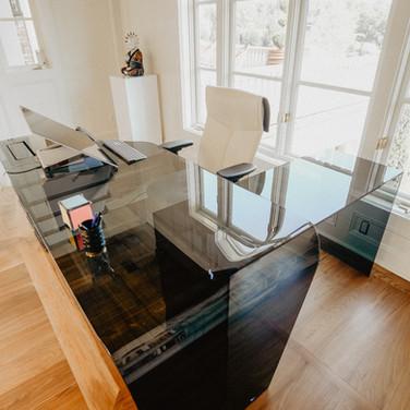 UV Bonded Glass Desk Return