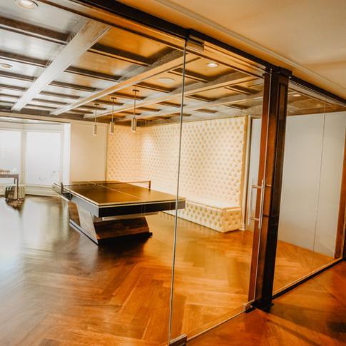 Glass door, glass walls