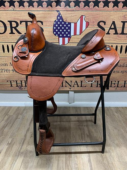 "#11573 - 15.5"" Border Tooled Trail Rider"