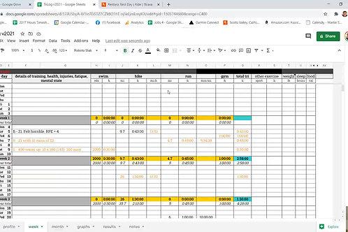 TriLog v2021 (Training Diary Sheet)