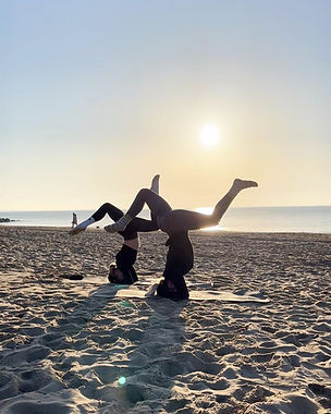 Headstand Practice at Beach Yoga Flow