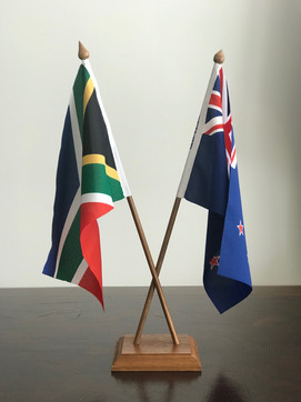 DESK FLAGS WITH HAND-FINISHED AFRICAN TEAK WOOD SINGLE BASE & DOUBLE CROSSOVER POLE SETS