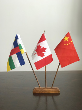 TABLE FLAGS WITH HAND-FINISHED AFRICAN TEAK WOOD SINGLE BASE & TRIPLE POLE SETS