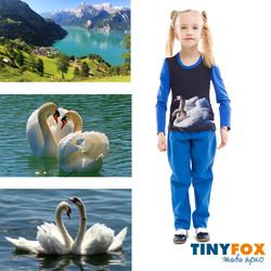 Лебедь. Детская одежда.Лонгслив