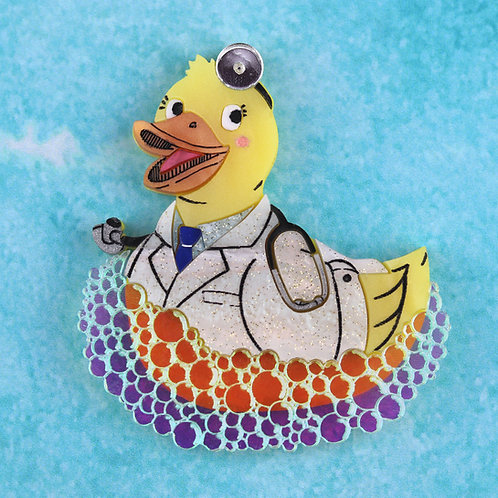 Doctor Duck Brooch