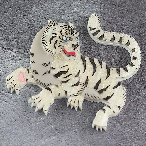 Byakko, White Tiger of the East Brooch/Necklace