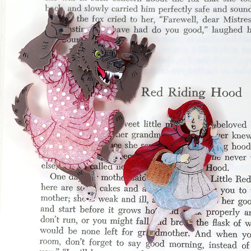 Red Riding Hood and the Big Bad Wolf Brooch set
